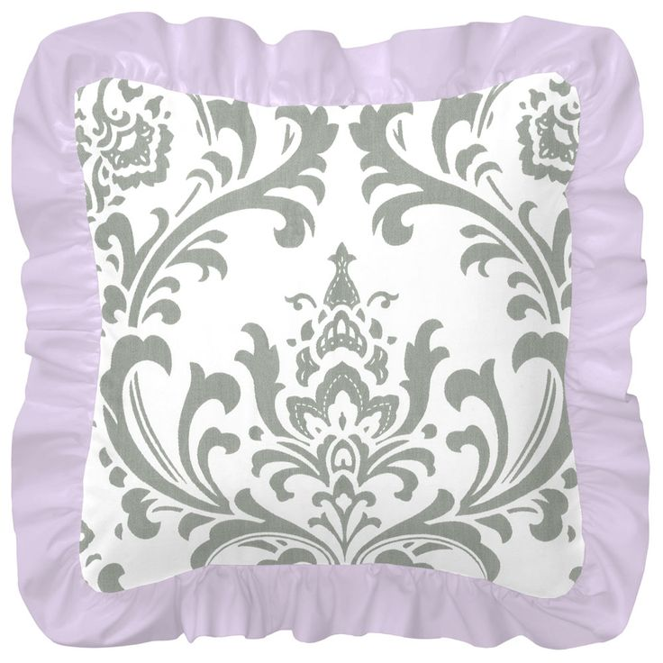 """Decorative Pillow in Lilac and Gray Traditions Damask by Carousel Designs.  Designed to coordinate beautifully with your crib bedding, this decorative pillow is a great way to add an extra-special touch to your nursery. Approximately 12"""" x 12"""" with 2"""" ruffle; pillow form included. For decorative use only, and should not be left in crib with baby. Our decorative pillows are made with recyclable hypoallergenic polyester fiberfill."""