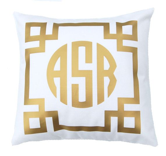 Gold Monogram Pillow - Personalized Gift - Metallic Pillow - Throw Pillow Cover - Gift for Her ...