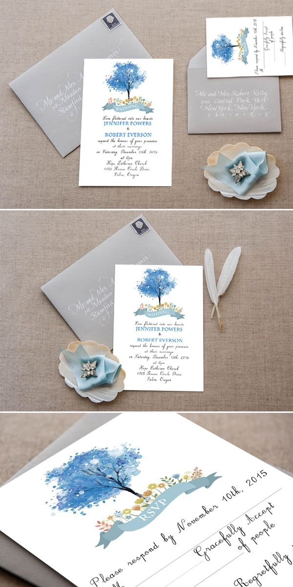 simple blue watercolor wedding invitations with free rsvp cards for 2016 spring/summer