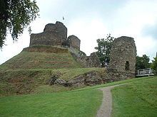 The motte and bailey defences of Launceston Castle in England