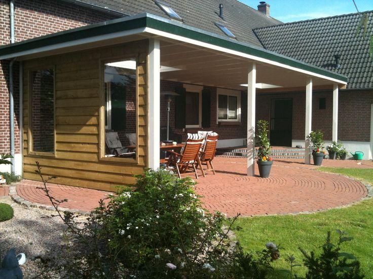 14 landelijke klassieke houten veranda terrasoverkapping bouwen aan huis met plat dak en - Huis met veranda ...