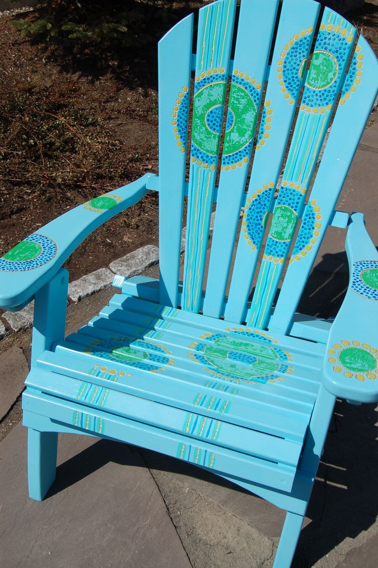Home gt cedar adirondack wisconsin chairs with personalized laser - Adirondack Chair Inspired By Aboriginal Dot Painting