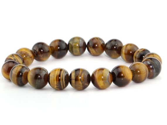 Christmas Gift Genuine Earthmined Tiger Eye Lucky Stone Spiritual Meditation Energy Healing Beads Bracelet Fits all Man Woman stretchable