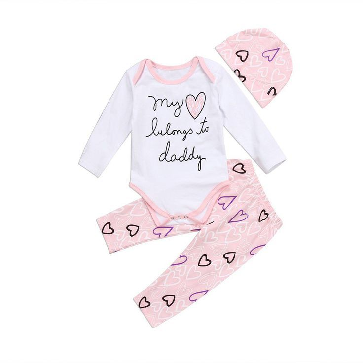 Infant Baby Girls My Heart Belongs to Daddy Romper+Love Heart Short Clothing Set
