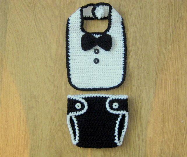 Cute Little Man Crochet BIB, BOW TIE and Nappy DIAPER Cover,  Photo Prop, 0-3 m £18.50