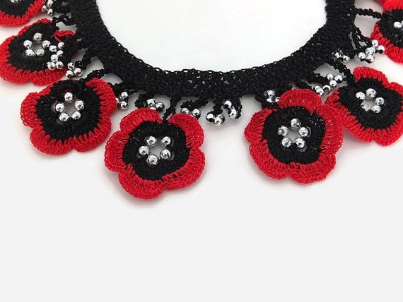 Crochet Necklace Crochet Flower Necklace , Red And Black Oya Lace Necklace Floral Jewelry, Unique crochet Jewelry, Boho Fabric Necklace