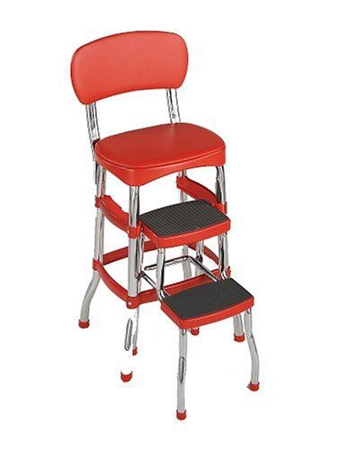 Retro Chair/Step Stool Red Folding Cosco Ladder Counter Height Kitchen Stools