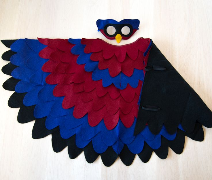 Imaginative bird costume for kids. Superhero mask and wing cape for children.