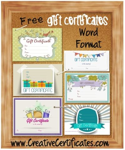 Gift certificate template in Word format so that you can type in the details. Free download! Over 20 designs available!
