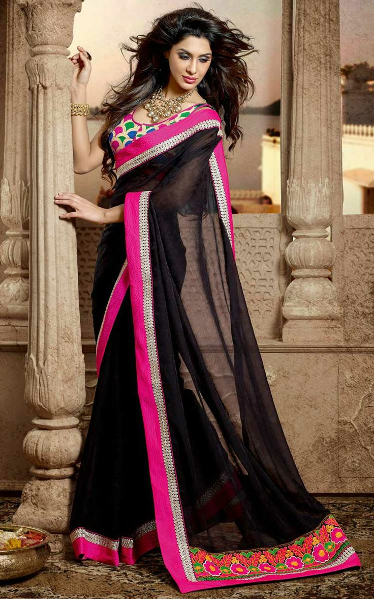 BLACK FAUX GEORGETTE EMBROIDERED SAREE - DIFF 28335