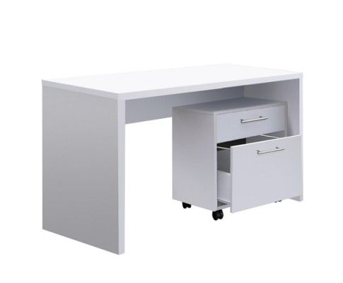 This revolutionary 2 in 1 Computer Desk Set has successfully combined simplicity and a compact design making it ideal for office or study room. The set includes a beautiful computer desk and a practical cabinet with two drawers, providing generous storage space for documents and stationery.   http://www.rosaelonline.com.au/product/office-study-computer-desk-w-2-drawer-cabinet-white/