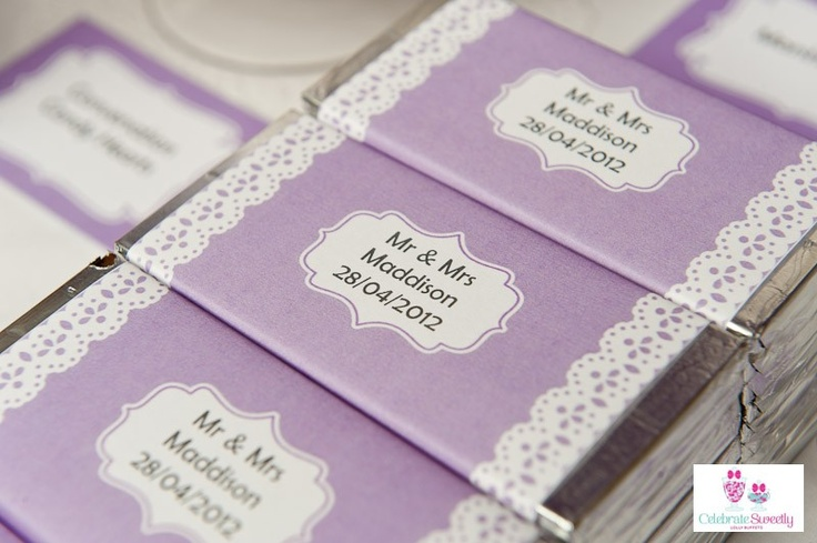 Vintage lilac and lace printable chocolate bar wrappers designed by Kristy Gray Designs, styled by Celebrate Sweetly Lolly Buffets, Mackay, Qld.