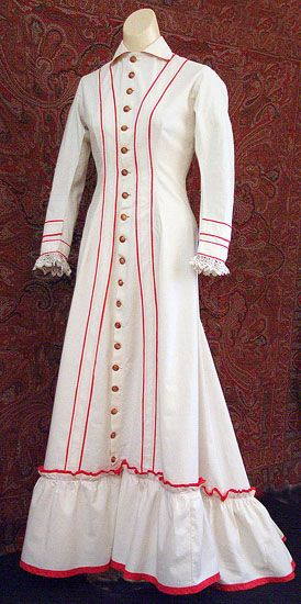 White cotton house dress with red trim, 1890s