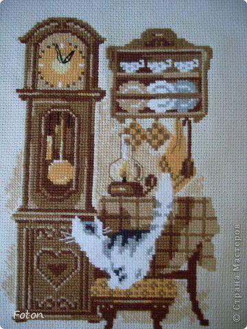 Картина панно рисунок Вышивка крестом Кошки очарование мое   или Кошачий след в моей работе Канва Нитки фото 1