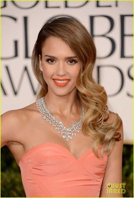 Jessica Alba- Vintage waves- orange lips- brown eye shadow- Celebrity- Golden Globes 2013 Red Carpet