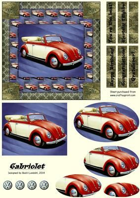 This design is for a celebration card to the VW enthusiast. This red and ivory vintage beauty will make a stunning Card for both men and women and for any occasion worth celebrating :)
