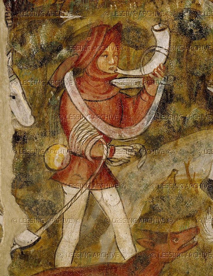 A scene from the hunt:young boy blowing the hunting horn.Detail of 16-01-04/21, a mural in the knights' hall of Runkelstein castle,South Tyrol,Italy. Murals show scenes from courtlife and illustrate the Tristram and King Arthur legends.   Gothic Mural,14th  Runkelstein Caste,Bolzano,Italy