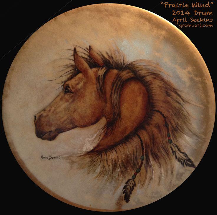 """""""Prairie Wind"""" -- 15"""" Cheyenne drum painted by April Seekins of www.gramzart.com"""