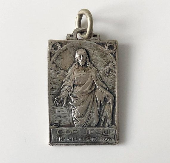 Jesus Christ Sacred Heart Mother Mary and Child Jesus Religious vintage Catholic hallmarked silver pendant charm of Holy Mary Our Lady