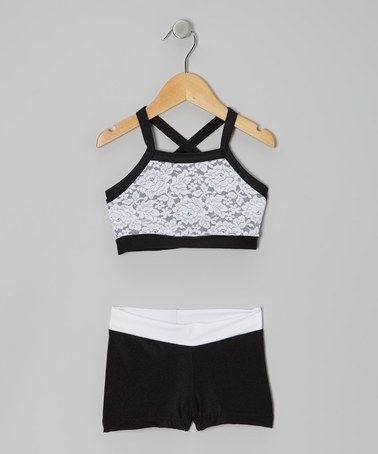 Black & White Lace Sports Bra & Shorts - Girls by Elliewear #zulily #zulilyfinds