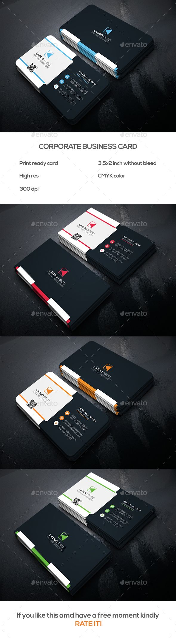 Corporate Business Card Template PSD Download here