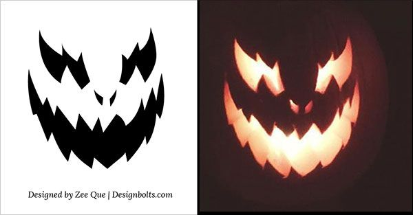 10 Free Halloween Scary & Cool Pumpkin Carving Stencils / Patterns / Templates / Ideas 2015