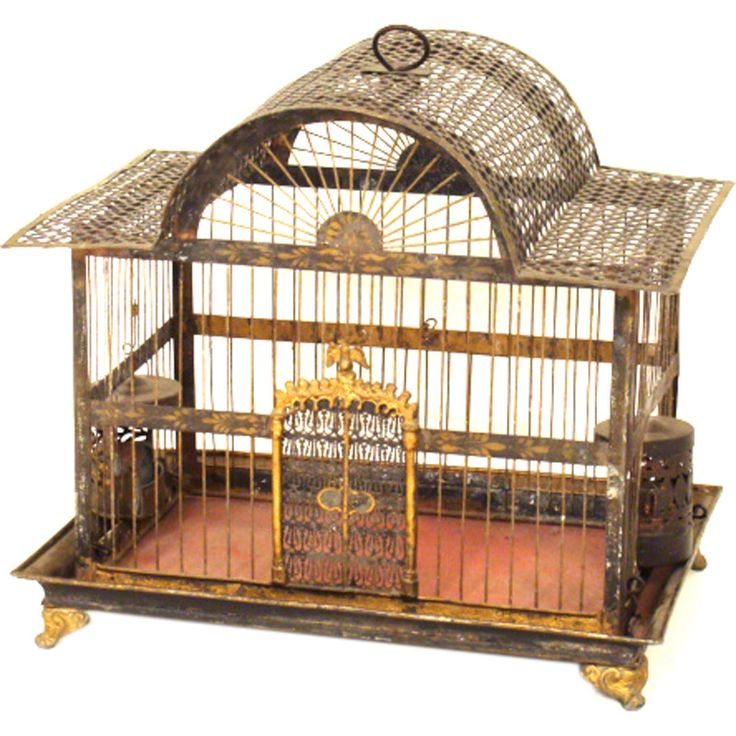 19th century tole birdcage | From a unique collection of antique and modern bird cages at http://www.1stdibs.com/furniture/more-furniture-collectibles/bird-cages/