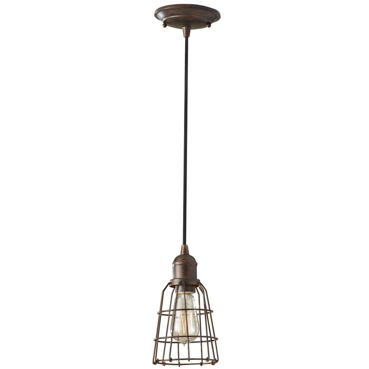 Feiss Lighting Industrial / Vintage Mini-Pendant Light with Cage Shade P1246PRZ