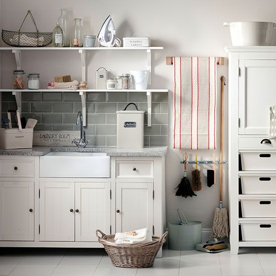 Organised neutral utility room | Utility room decorating | Ideal Home | Housetohome.co.uk