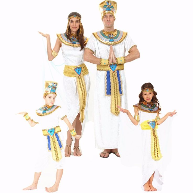 Egypt Queen Cosplay Costumes Princess Royal Golden Women Men Costume Masquerade theme Party Christmas halloween kids Costumes