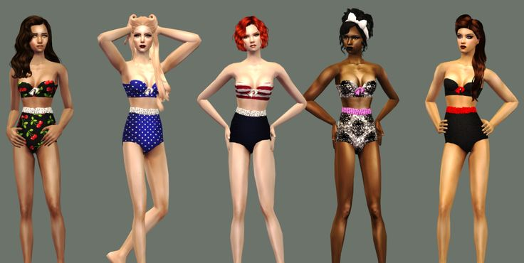 Pinup Bikini SetI am now officially on a quest to make clothing for underrepresented clothing categories. I have next to nothing in swimwear for all of my sims, so I figured I'd start with AFs...