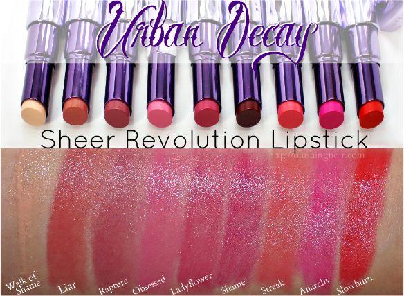 Urban Decay Sheer Revolution Lipsticks Swatches