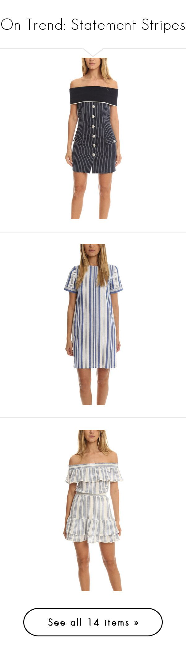 """""""On Trend: Statement Stripes"""" by blueandcream ❤ liked on Polyvore featuring dresses, women, bodycon mini dress, strapless dresses, navy bodycon dress, white dress, mini dress, round neck short sleeve dress, striped cotton dress and stripe dresses"""