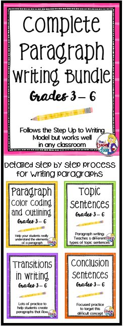 Looking for effective paragraph writing lessons? This Bundle combines four of my very popular writing strategy sets: Paragraph Color Coding and Outlining, Topic Sentences, Transitions in Writing, and Conclusion Sentences. Everything you need is here to help your students craft beautifully written paragraphs, and it is Common Core aligned! (TpT Resource)