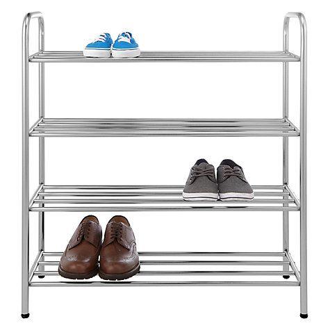 brushed metal 4 tier shoe rack