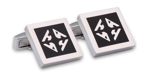 Hardy Amies black monogram square cufflinks.  #Dapper #Gentleman #Men #Menswear #BritishTailoring #Suit #SlimFit #Shirt #Tailored #Vintage #Class #Streetstyle #Classic #Classy #HardyAmies #LondonStyle #ModernMan