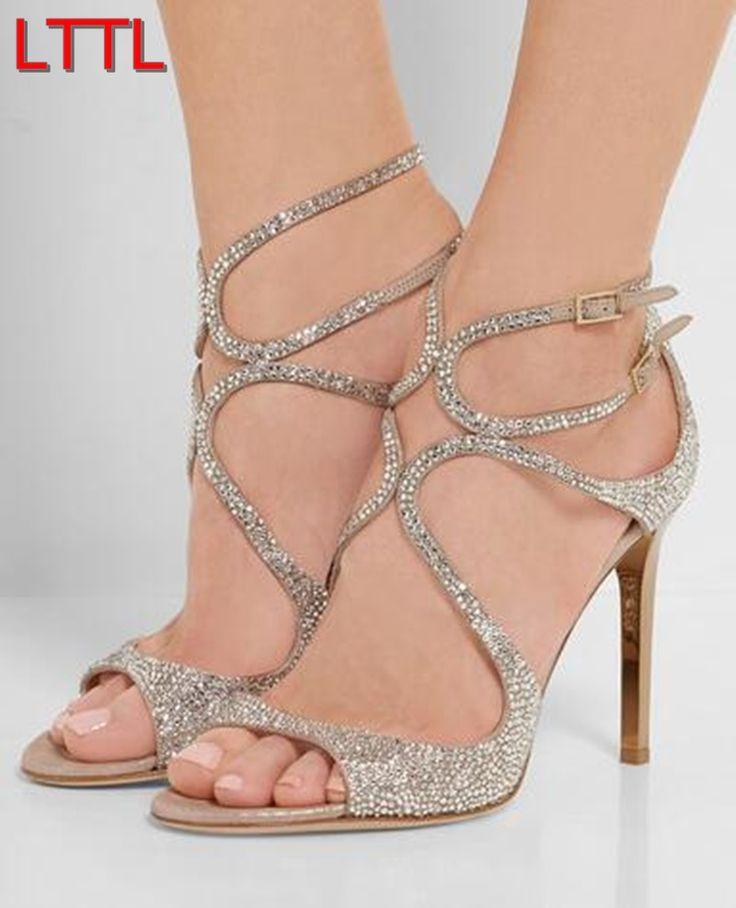Barato 2016 LTTL Lady Moda Corta Sandálias Peep Toe Glitter Sandálias de Tiras de Strass Casamento Sapatos de Salto Alto Sandálias Gladiador, Compro Qualidade Sandálias das mulheres diretamente de fornecedores da China: bem-vindo à minha loja* tamanho de gráfico para as mulheres
