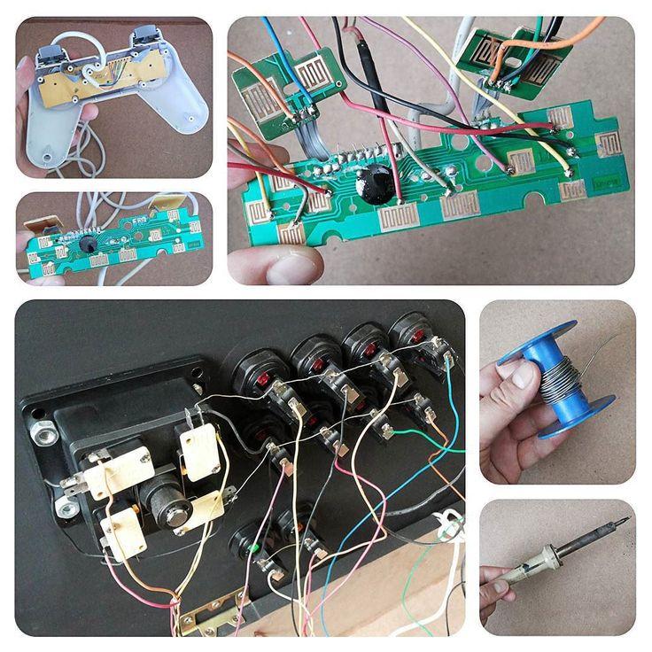 On instagram by shindimaster #arcade #microhobbit (o) http://ift.tt/1UxuF1S(Continuação do controle arcade)... Agora vem a parte mais complicada:  soldagem dos fios! Não é impossível basta ter calma paciência e cuidado. Você vai precisar de um ferro de solda e um tubo de estanho. Todo botão tem um ponto positivo e um negativo. Solde 1 fio ligando cada botão do arcade no botão do controle (pólo positivo) e 1 fio geral unindo todos os botões do arcade em um único botão do controle (pólo…