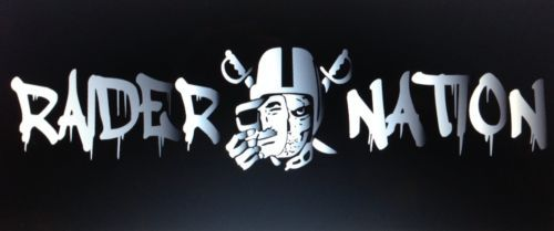 Raider Nation Vinyl Decal Sticker 22 X 5 Raiders Skull Black Hole Man Cave Raiders