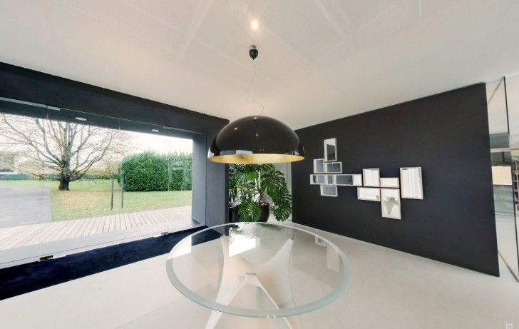 Home Design, Black Pendant Lamp Glass Table White Porcelain Floor Potted Plants Glass Door And Carpet ~ Charming Glass Wall Interior Embracing the Minimalist Home Design