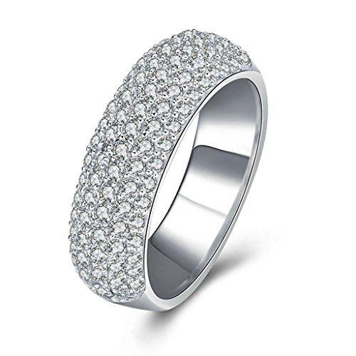 Epinki Damen Ringe, 925 Sterling Silber Damenringe Eheringe Antragsrine mit Zirkonia Gr.61 (19.4)