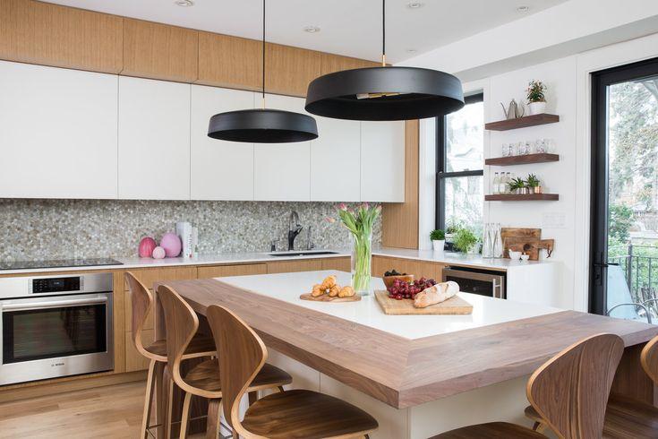Custom designed modern kitchen.  Pendant lights: by Lambert et Fils Stools: Cherner  LaurenMiller_HGTV_AlanaFletcher_Rosedale-5800.jpg