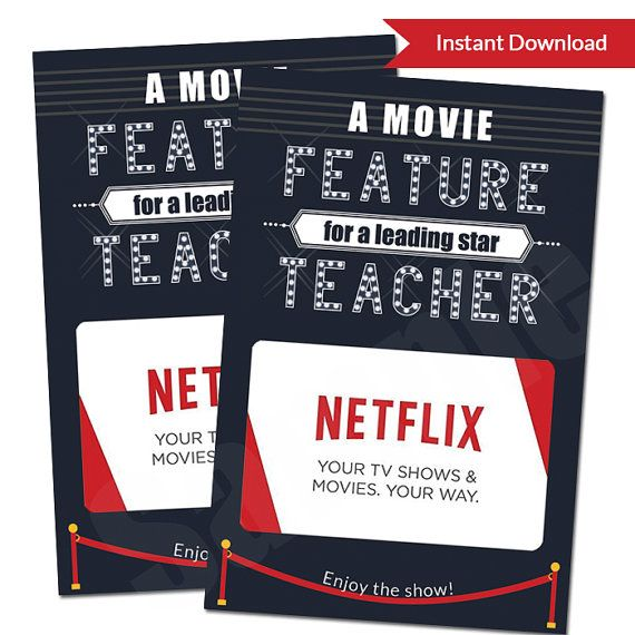 Teacher Appreciation Movie Night Theater Gift Card Printable PDF