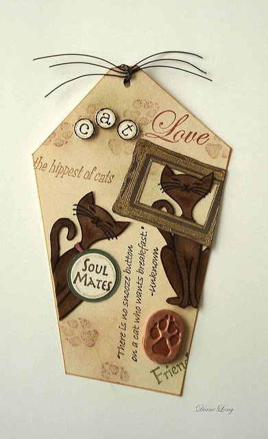 Cats stamped tag  Cat stamp, frame stamp, wire wisker