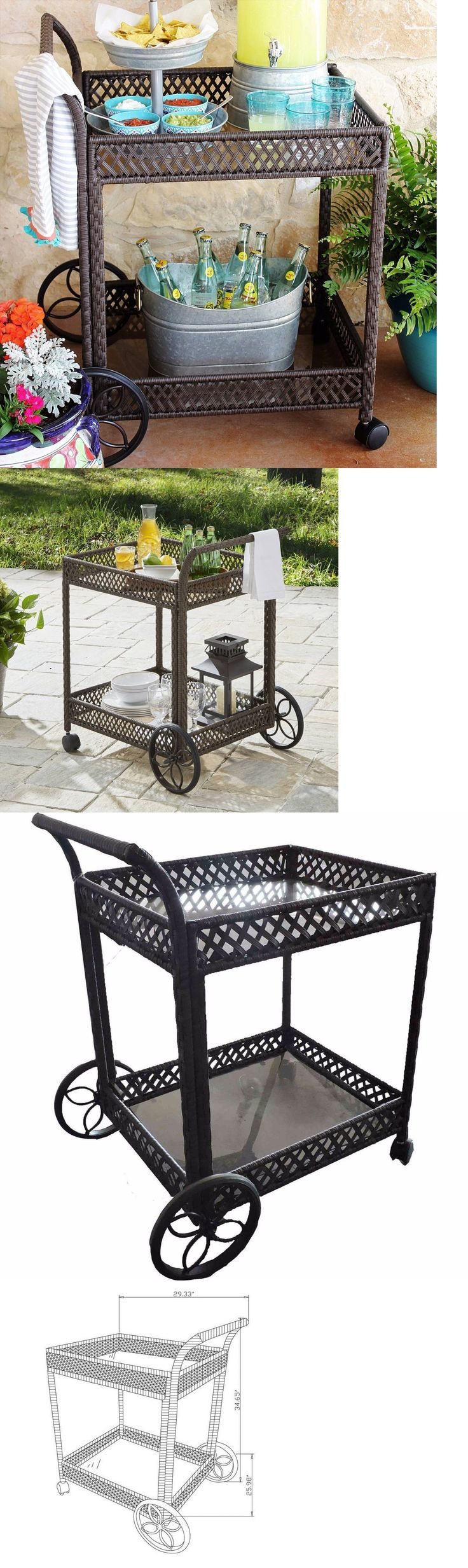 Outdoor buffet table serving cart as well century modern console table - Bar Carts And Serving Carts 183320 Patio Wicker Serving Cart Indoor Outdoor Kitchen Bar Dinner