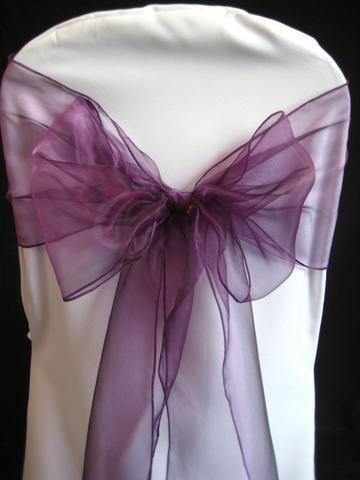 Organza Chair Bow Sash, 9-inch, 10-feet, 6-piece, Purple