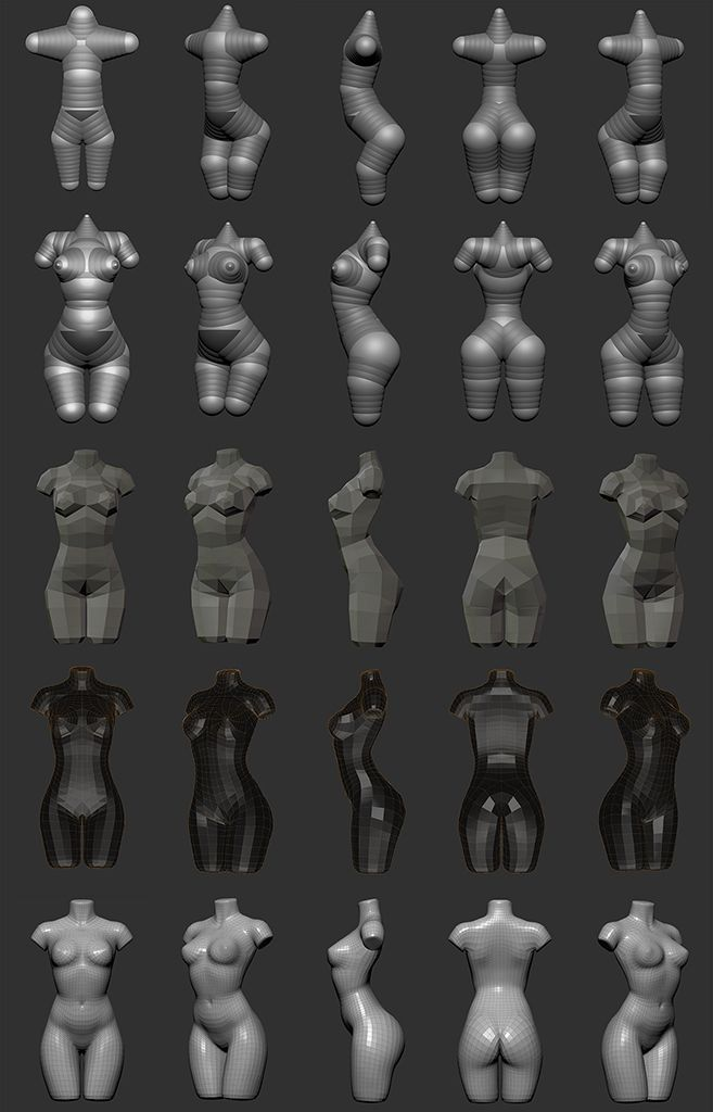 Zbrush: Creating woman torso from Zspheres step by step technique by Sze Jones: