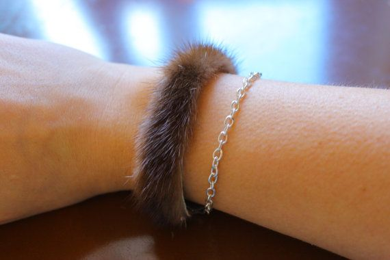 Upcycled mink fur bracelet with chain / real fur cuff bracelet / winter fashion / brown slim leather strap