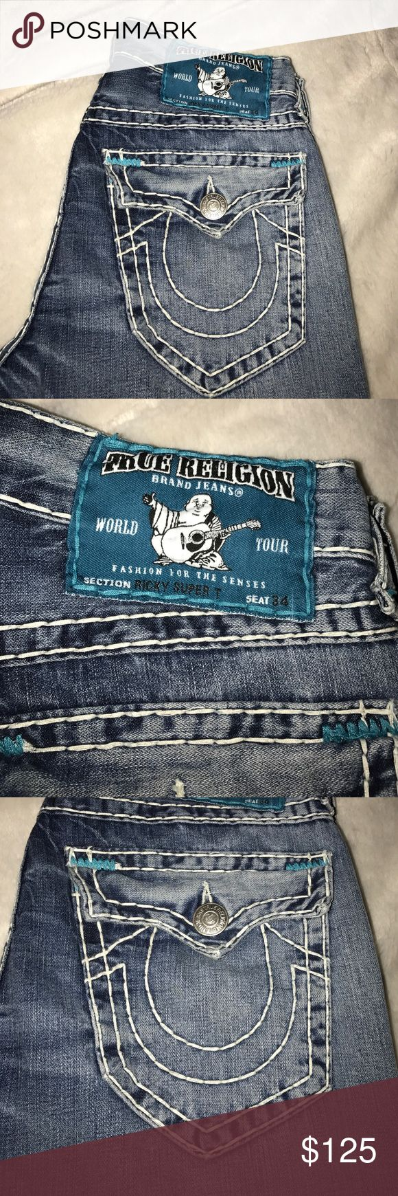 True Religion Men's White Stitch Jeans Great condition only worn once thick stitches True Religion Jeans Bootcut
