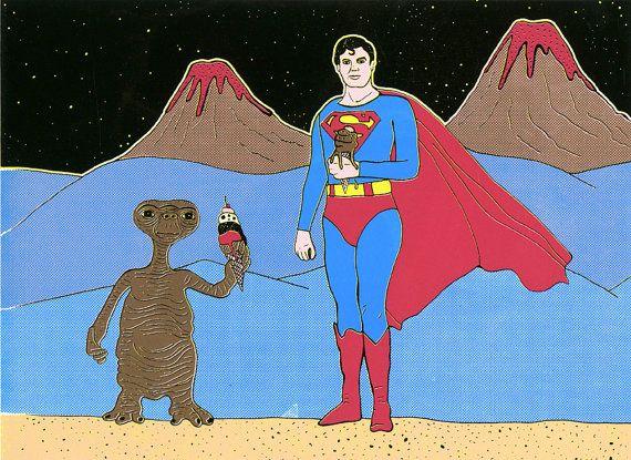 ET vs Superman par GalaxiePop sur Etsy, $110.00